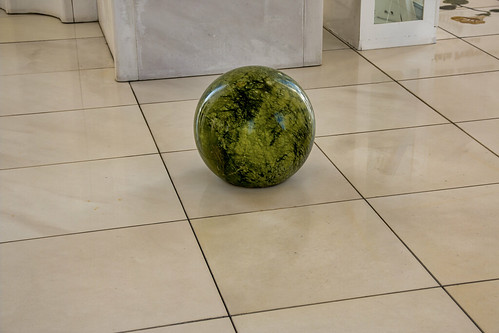 Green marble ball greets visitors, Sheikh Zayed Mosque, Abu Dhabi