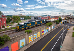 CSX 2313 - Dayton, OH (Wheelnrail) Tags: csx csxt j782 train trains emd gp402 rail road railraod dayton ohio downtown urban city oh street tracks elevated toledo subdivision sky freight