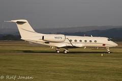 N607D Gulfstream Aerospace GIV-X (G450) Glasgow airport EGPF 20.06-18 (rjonsen) Tags: plane airplane aircraft aviation general business jet corporate parked ramp airside golden hour evening light