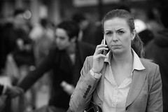 Serious (Stuart Mac) Tags: street candid seriois look woman phone eyes smart office suit business london d700 nikon mono