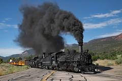 Smoke and Glory (jterry618) Tags: 845amsilvertontrain alcoschenectady1923 americanlocomotivecompany colorado drgw472 drgw473dsng473 drgw476 drgw476dsng476 denverriograndewestern durangosilvertonnarrowgaugerailroad hermosa k28282 doubleheaderleavinghermosa durango unitedstates us steam locomotive