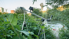 Slovakia, Timelapse on a Slider filming Boys fishing