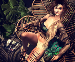 Là où je rêve (♛ Baronne ♛) Tags: secondlife avatar slavi trompeloeil c88 collabor88 vespertine teefy tableauvivant lelutka ingeue sandals chair backbone tresblah shadow palm pose sit mademoiselle mode model mannequin cute jolie belly bra top sweater fashion look style portrait spencer cleavage tiny shorts pretty belle bella hacienda summer été vr virtualgame sims tropical whatnext drinks straw beauty photograph pic picture sl 3d legs body heels shoes face visage