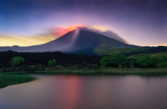 Pacaya Volcano (neritron) Tags: long exposure volcan volcano volcanoe eruption active lava red landscape landscapes color image colorful colourful lagoon water blue hour nikon
