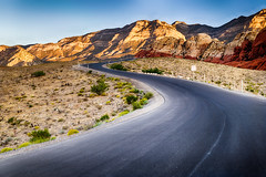 Cimbing up the Curves (tquist24) Tags: hdr keystonethrust mojavedesert nevada nikon nikond5300 redrockcanyonnationalconservationarea curvy desert geotagged highway morning mountains park road rocks sandstone sky lasvegas unitedstates