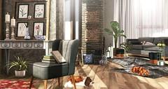 Nature in art (Alexa Maravilla/Spunknbrains) Tags: fancydecor collabor88 milkmotion cheekypea uber serenitystyle pocketgacha pilotcanteven {vespertine} jian trompeloeil secondlife sl decor interiordesign home livingroom furniture indoors pets dogs