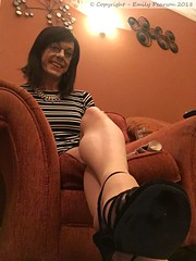 June 2018 (Girly Emily) Tags: crossdresser cd tv tvchix trans transvestite transsexual tgirl tgirls convincing feminine girly cute pretty sexy transgender boytogirl mtf maletofemale xdresser gurl glasses dress tights hose hosiery indoor stilettos highheels feet foot