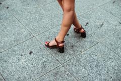 heels and toes (ewitsoe) Tags: canoneos6dii city europe ewitsoe warszawa erikwitsoe poland summer urban warsaw feet foot shoes heels woman toesnailspaintedred sidewalk lookingdown legs standing waiitng