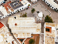 Bird's eye view of the church Iglesia de Nuestra Señora de Guadalupe in Teguise (marcoverch) Tags: square landscape church city aerial town chapel marmor plaza travel spain architecture trip drone eu buildings white teguise canarias spanien es birdseyeview iglesiadenuestraseñoradeguadalupe coth5 tamron noiretblanc contrast beer holiday grey nikkor festival