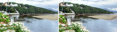 Portmeirion Estuary 3D (Non Paratus) Tags: 3d stereophotography stereoscopic landscape estuary riverdwyryd afondwyryd sandflats mudflats sky clouds water portmeirion gwynedd wales cymru uk theprisoner thevillage