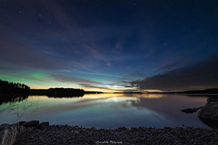 First of the Season (laurilehtophotography) Tags: aurora auroraborealis northernlight noctilucent clouds landscape nightscape nature water lake reflections night summer 2018 nikon d750 samyang 14mm wideangle shore stars sky nightsky longexposure