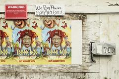 Album Posters on an Abandoned Building (N.the.Kudzu) Tags: urban city atlanta georgia neighborhood mechanicsville movie posters abandoned building mailbox canondslr manualfocus primelens russianlens
