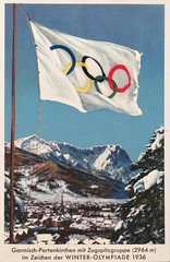 Photo of Garmisch-Partenkirchen, venue of the 4th Olympic Winter Games 1936.  Postcard 10300 from Alpine Publisher Hans Huber (lhboudreau) Tags: 1936 olympics olympicgames 1936wintergames 1936olympicgames winterolympics 1936winterolympicgames ivolympicwintergames sports athletes athletics sportevent sportevents athleticevent athleticevents garmischpartenkirchen germany olympischenspiele dieolympischenspiele1936 snow mountain mountains olympicrings skies sky postcard postcards vintagepostcard vintagepostcards february61936 1936germanolympics germanolympics advertising vintageadvertising ad advertisement olympischewinterspiele ivolympischewinterspiele winterolympiade winterolympiad winterolympiade1936 zugspitze zugspitzemountain wetterstein wettersteinmountains flag flagstaff flagpole february1936