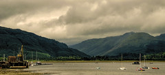 Holy loch (grahamd4) Tags: scotland clouds water loch boats crane landscape