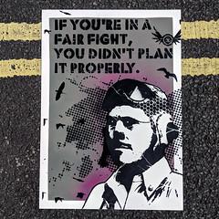 If you're in a fair fight... (grey/pink) (id-iom) Tags: advice aerosolpaint art arts brixton cool england eyes face fair fight head idiom london man paint pilot plan quote raf spray spraypaint stencil street streetart uk urban vandalism wisdom