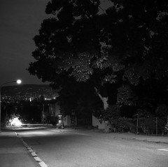 Nacht im Quartier, July 2018 (sogesehen.) Tags: agfaisoly bw blackandwhite film rolleirpx iso100 nachtimquartier night evening dark longexposure vintagecamera series urban nature buildings housing street friesenberg zürich schweiz switzerland