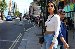 `2364 (roll the dice) Tags: london westminster streetphotography culture sad mad fun funny happy reaction people fashion hot sunny weather shops shopping england uk art classic unknown canon tourism tourists pretty sexy girls muslim traffic empty busy crowd portrait strangers candid travel transport boobs ee arab bus sunglasses blur crossing hair shadows smile urban unaware w1 westend oxfordstreet surreal