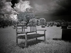 The Waiting Room (Twila1313) Tags: ir infrared cemetery spooky death bench wooden wood graves graveyard memorial ghost monochrome blackandwhite bw blackwhite sony cybershot dscf707