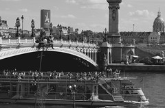 Paris Summer (Anna Sikorskiy) Tags: bw blackandwhite streetphotography city cityscape river bridge boat people leisure summer mood atmosphere urban life lifestyle architecture landmark historic beauty explore paris france europe canon annasikorskiy