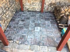 New floor in the garden under the wood