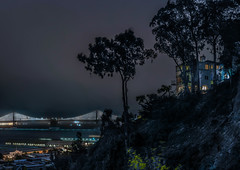montgomery house (pbo31) Tags: bayarea california nikon d810 color july summer 2018 boury pbo31 sanfrancisco baybridge 80 bridge port over montgomerystreet house fog silhouette view telegraphhill panoramic large stitched panorama