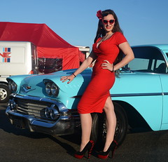Holly_9226 (Fast an' Bulbous) Tags: classic american car chevy automobile vehicle people outdoor santa pod girl woman hot sexy chick babe pinup model red wiggle dress high heels stilettos shoes stockings nylons long brunette hair