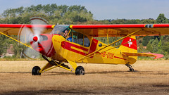 Private Piper Pa-18 Super Cub HB-OQB (SjPhotoworld) Tags: belgium belgië schaffen diest airport airliner aviation aircraft airplane airline avgeek piper pa18 segelfluggruppe thun prop propblur lightaircraft flickr fr24 flickrelite flight arrival canon transport travel taxiway ebdt