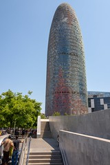 Torre Agbar, July 2018 (jfew) Tags: leicaq leica cityscape urban city sunny day skyline torreagbar agbar skyscraper tower building europe españa spain barcelona architecture