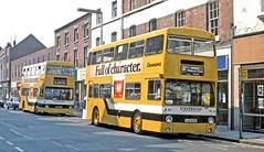 Stevensons, Uttoxeter: 84 (OJD187R) and 85 (OJD204R) in Station Street, Burton on Trent (Mega Anorak) Tags: bus leyland fleetline fe30agr mcw dms stevensonsuttoxeter londontransport burtonontrent