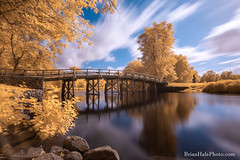 Concord River bridge (Brian M Hale) Tags: ir infrared infra red tiffen blue47 blue 47 filter outside outdoors breakthroughphotography breakthrough bridge water river reflection reflections trees sky clouds longexposure long exposure concord lexington brian hale brianhalephoto