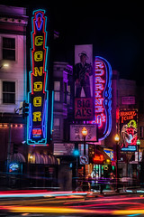 the condor (pbo31) Tags: sanfrancisco california nikon d810 night dark black color july summer 2018 boury pbo31 city urban lightstream motion traffic roadway northbeach broadwaystreet columbusavenue stripclubs neon condor club ladies topless sign