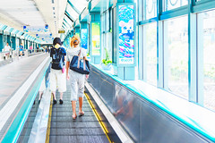 On the Ebisu Sky Walk (moving walkway) : 恵比寿スカイウォーク(動く歩道) (Dakiny) Tags: 2018 summer july japan tokyo shibuya shibuyaward ebisu station ebisustation ebisuskywalk movingwalkway indoor city street architecture people portrait woman girl nikon d750 tamron 35mm f18 tamronsp35mmf18divcusd tamronsp35mmf18divcusdmodelf012 sp35mmf18divcusd sp35mmf18divcusdmodelf012 modelf012
