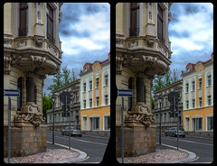 Jugenstil in Reichenbach 3-D / CrossView / Stereoscopy / HDRaw (Stereotron) Tags: saxony sachsen vogtland reichenbach 08468 03765 architecture belleepoque zwickauerstrase humboldstrase jugendstil europe germany deutschland cross eye view xview crosseye pair free sidebyside sbs kreuzblick bildpaar 3d photo image stereo spatial stereophoto stereophotography stereoscopic stereoscopy stereotron threedimensional stereoview stereophotomaker photography picture raumbild twin canon eos 550d remote control synchron kitlens 1855mm 100v10f tonemapping hdr hdri raw