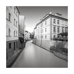 Throughfare (GlennDriver) Tags: bw blackandwhite black white mono water canal prague building architecture city europe canon eos nd