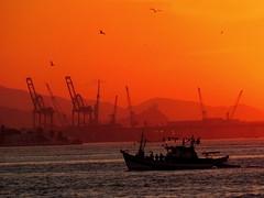 Sunset in Guanabara (Antonio Dourado│Fotografias) Tags: canon canonsx50hs canonpowershotsx50hs canonsx50 canonpowershotsx50 canonpowershot riodejaneiro rio brasil brazil baíadaguanabara bay baía barco boat sunset sun golden antoniodouradofotografias shadows cielo