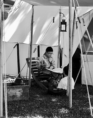 Storyteller (joanneclifford) Tags: fujifilmxt20 bw monochrome blackandwhite historicalreenactment canalfest merrickville