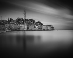 Eternity awaits (blondmao) Tags: adriaticsea adria church instagram dawn sveufemija mediterranean sea croatia longexposure morning clouds harbour rovigno building noperson oldtown churchspire istria rovinj sky boat santaeufemia water 13stopper reflection