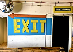 """Trust Your Instincts"" (Halvorsong) Tags: signs texture color yellow blue orange wood fun art explore discover urban city usa america americana roadtrip roadside light shadow frame framed composition contrast photography halvorsong photosafari hiddengems wow thereitwas exit restroom"