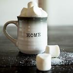 Mug with marshmallows on wooden table thumbnail