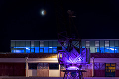 Blood Moon over M-Shed, Bristol, UK (KSAG Photography) Tags: moon bloodmoon night nightphotography city urban bristol uk england unitedkingdom europe astrophotography crane sky nikon sigma telephoto
