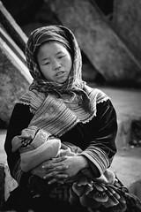 Thoughtful (Sébastien Casters) Tags: vietnam blackanwhite street streetphotography women kid
