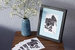 Nature Photographer Original Linocut Prints (Girl With Butterfly Wings) Tags: linocut print nature photographer camera bird flowers prints handmade original cardinalartuk