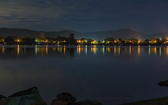 Reflections of Night on the Bay (Merrillie) Tags: night blackwall landscape water reflections city nighttime newsouthwales homes lights brisbanewater sthubertsisland australia nightlights mountains woywoy lines nightscape centralcoast town bay