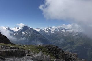 vue sur le Val d'Hérens depuis le Col de Torrent