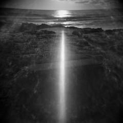 Oregon Coast #26 (Yachats) (LowerDarnley) Tags: holga yachats oregon oregoncoast northwest pacificocean sunset flare rocks coast sun