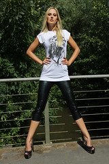Saskia 34 (The Booted Cat) Tags: sexy blonde long hair model girl legs heels highheels leather leggins