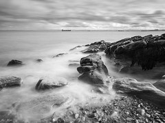 It's a matter of time. (Martin John Mclaughlin) Tags: scotland tide seascape beach firthofforth rocks waves mono