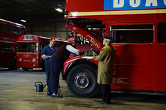 A Quick Service (gooey_lewy) Tags: time line events bus garage shoot charter london transport buses night purfleet ensign busses depot re enactors renactors rt rm rf lt tle neil cave rm1843 rt325 running repairs fitter mechanic inspector