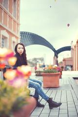Emmy (Yuri Figuenick) Tags: portrait woman flower tokyo jeans sky canon eos 5d mark3 135mm boots girl portraiture
