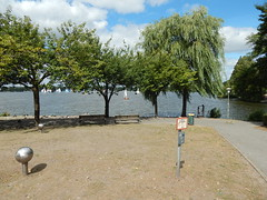 Trees near the Alster (Pwern2) Tags: tree water lake alster grass hamburg germany deutschland sky clouds